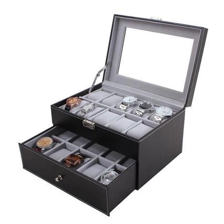 154a55bff65 Maleta estojo porta 20 relogios caixa organizadora relogio dupla com gaveta  em madeira e couro com v - Faça resolva