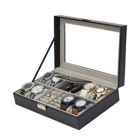 614def39c3a Maleta estojo porta joias e relogio caixa organizadora para 8 relogios  pulseiras brincos aneis com c - Faça resolva
