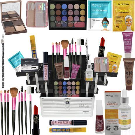 Imagem de Maleta + Kit Maquiagem Completa Kit Pinceis Base Ruby Rose