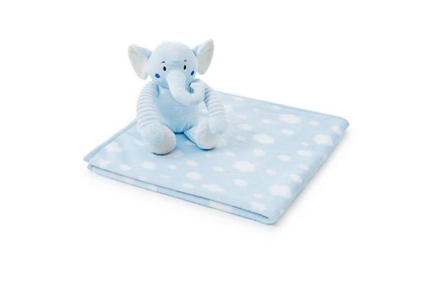 Imagem de Manta Microfibra + Elefantinho de Pelúcia Para Bebês - Azul - Loani