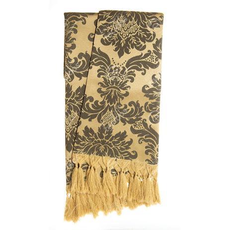 35446f840 Manta para sofá em Tecido Jacquard Preto e Dourado Medalhão Tradicional - Jacquard  tradicional