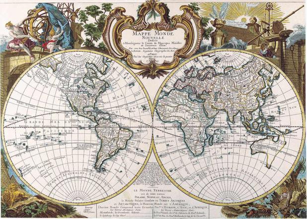 Mapa Mundi Antigo 1744 Tela 50x70 Para Quadro Santhatela