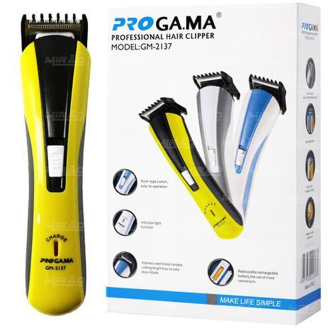 0853855db Maquina de Cortar Cabelo e Barbeador Recarregável PROGA.MA amarelo - GM2137  - Nova