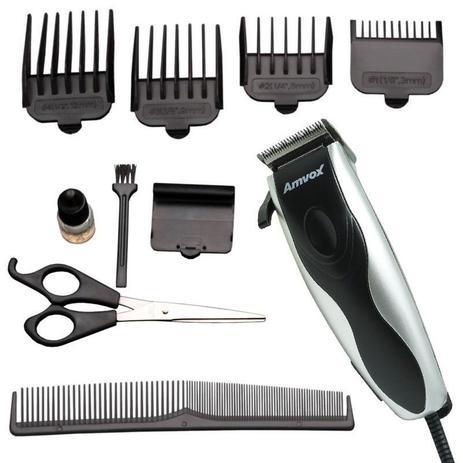 Máquina De Cortar Cabelo Elétrica Aparar Barba Pezinho 4 Pentes 110v Amvox Am 760 Pratapreta
