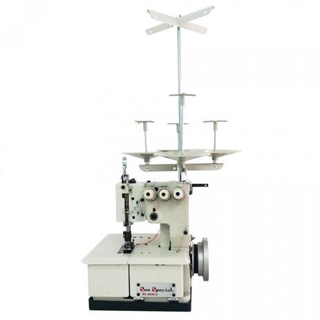 Imagem de Máquina de Costura Galoneira Semi-Industrial Portátil c/ Moto Acoplado, Base Plana, 3 Agulhas, 4 Fios, 2500ppm, Lubrif. Manual, SS26003