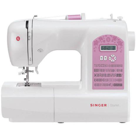 Imagem de Máquina de Costura Portátil Singer Starlet 6699 127V Branca e Rosa para Uso Doméstico