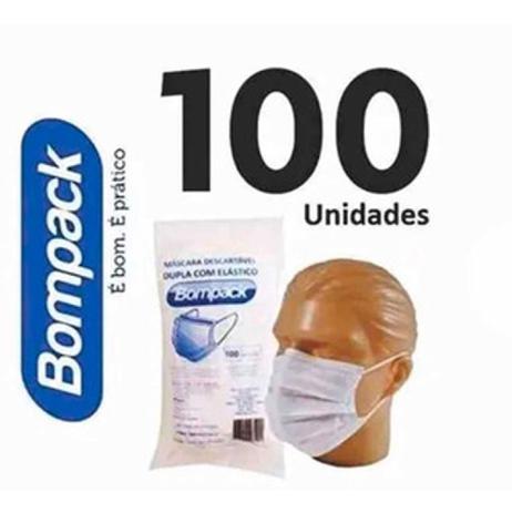 Imagem de Mascara descartável TNT dupla com elástico 100 un - Bompack