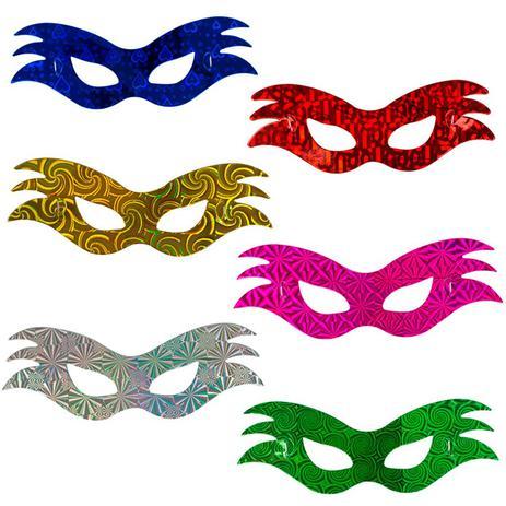 495f9c738 Máscara Holografica Fogo 12 unidades - Chines - Máscara de Festa ...