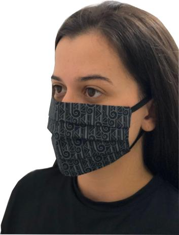 Imagem de Máscaras De Tecido Reutilizáveis 100% algodao tricoline com elastico Preta Estampada