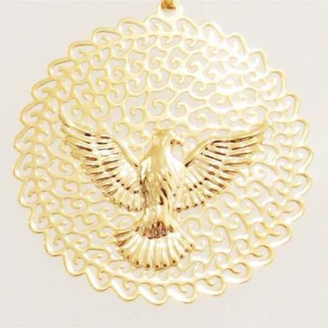 Medalha Pingente Espirito Santo Pomba Da Paz Folheado A Ouro