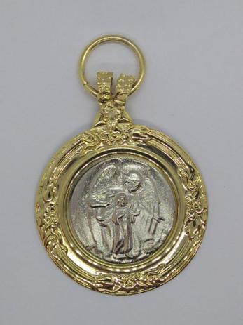 Imagem de Medalhão De Berço Anjo Da Guarda Dourado/Prateado