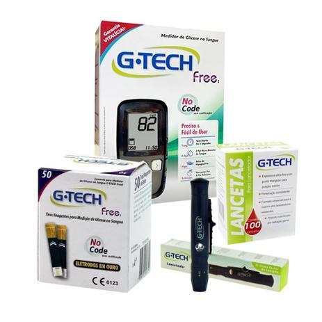 Imagem de Medição Diabetes Glicose G Tech Free 50 Medições Kit Completo Econômico