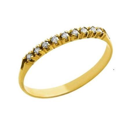 cc4ba8ce04dae Meia Aliança em Ouro 18K com 9 Diamantes de 1 Ponto cada - Napoleon Joias