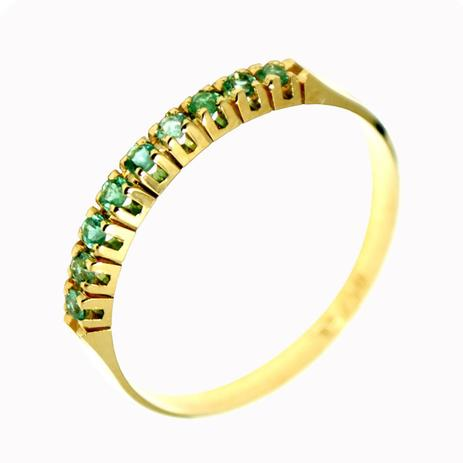 Meia Aliança em Ouro 18K com 9 Esmeraldas de 1 Ponto cada - Napoleon Joias 9dbe3c24b0