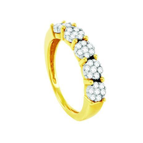 Imagem de Meia Aliança em Ouro 18K com Diamantes - AU1310