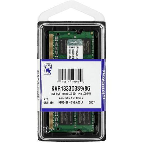 Imagem de Memoria Notebook 8GB DDR3 1333 Mhz Kingston Kvr1333d3s9/8g