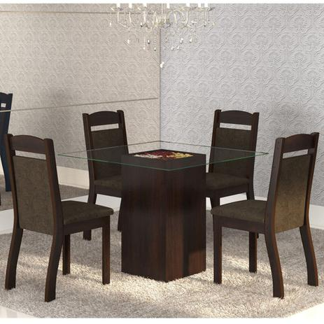 Imagem de Mesa de Jantar 4 Lugares Break Ameixa/Chocolate