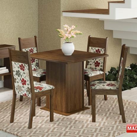Imagem de Mesa de Jantar 4 Lugares Malibu Rustic/ Floral Hibiscos