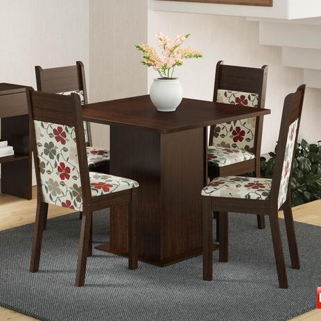 Imagem de Mesa de Jantar 4 Lugares Malibu Tabaco/ Floral Hibiscos