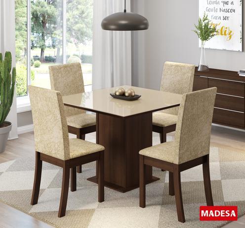 Imagem de Mesa de Jantar 4 Lugares Naomi Tabaco/Suede Imperial