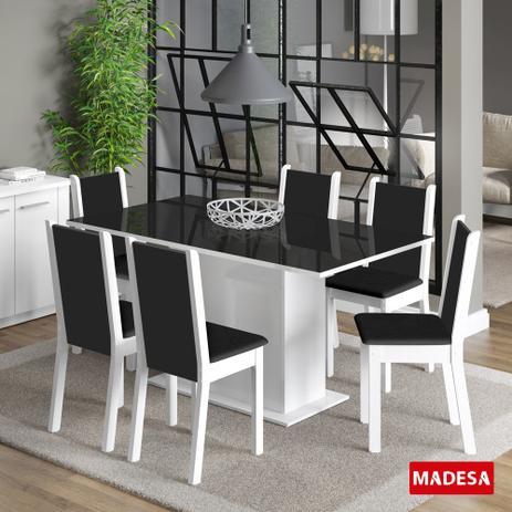 Imagem de Mesa de Jantar 6 Lugares Anis Branco/Preto/Courino Preto