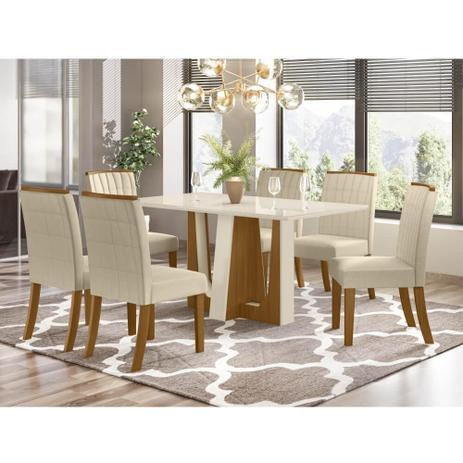 Imagem de Mesa de Jantar Alfa 160cm 6 Cadeiras Tauá - Nature/Off White