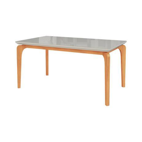 Imagem de Mesa de Jantar Cirrus 6 lugares 140cm s/ cadeiras - Tampo c/ Vidro - base madeira maciça - OFF WHITE/IMBUIA BAHIA