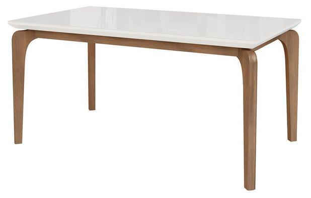 Imagem de Mesa de Jantar Cirrus 6 lugares 160cm s/ cadeiras - Tampo c/ Vidro - base madeira maciça - BRANCO/IMBUIA