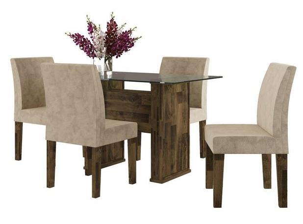 Imagem de Mesa de Jantar com 4 Cadeiras Europa Amadeirado com Pena Caramelo - RV Móveis