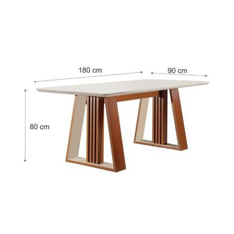 Imagem de Mesa de jantar para 6 cadeiras Deli -tampo de vidro serigrafado castanho premio / off white LJ Móveis