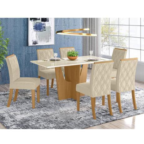 Imagem de Mesa de Jantar Vértice 160cm 6 Cadeiras Vita - Nature/Off Wh