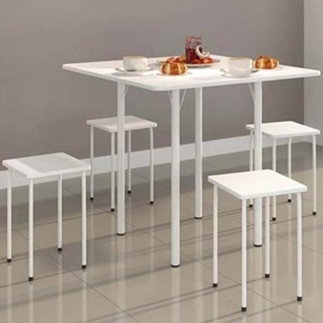 Imagem de Mesa Dobrável com 4 banquetas  Branca