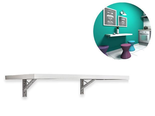 Imagem de Mesa Dobrável Para Cozinha 90cm x 45cm Com Borda Dupla Suporta Até 45kg