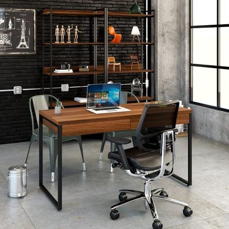 Imagem de Mesa Escritório Office Estilo Industrial 1,10 M C/ 2 Gavetas