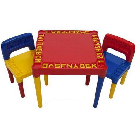 Imagem de Mesa Infantil Educativa Desmontável Com 2 Cadeiras