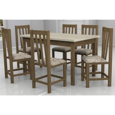 Imagem de Mesa Itália com 6 Cadeiras Itália Móveis Dolimar Inovata Tampo Teka