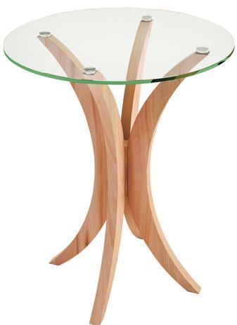 Imagem de Mesa Lateral Média com Tampo de Vidro Natural