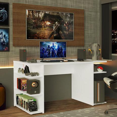 Imagem de Mesa para Computador Gamer Madesa 9409 e Painel para TV até 50 Polegadas - Branco/Rustic