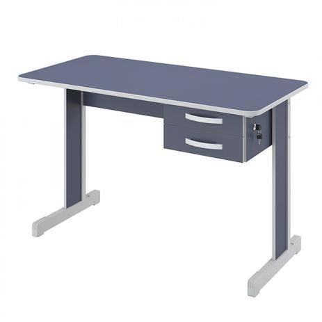 Imagem de Mesa para Escritório 2 Gavetas 120cm Pop New 600 Plata Móveis Azul/Cinza