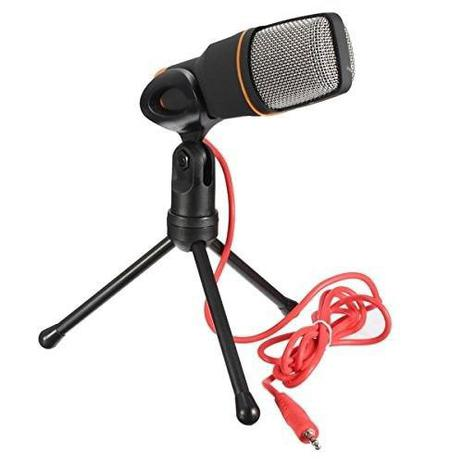 Microfone Condensador de Mesa Com Tripe Para Gravacao Cantar Profissional  Portatil Notebook PC Preto (BSL-RADIO-2) - Braslu