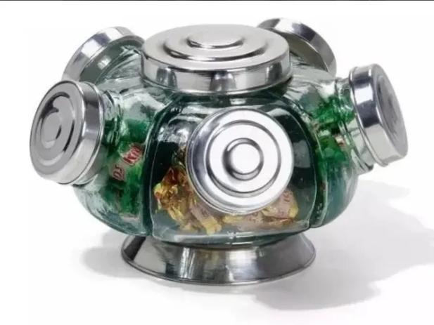 Imagem de Mini Baleiro Giratório de vidro na cor Prata