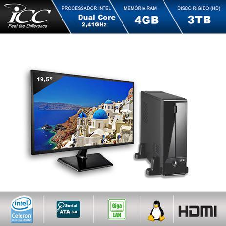 Imagem de Mini Computador ICC SL1844SM19 Intel Dual Core  2.41 ghz 4gb HD 3TB HDMI USB 3.0 FULL HD Monitor LED 19,5