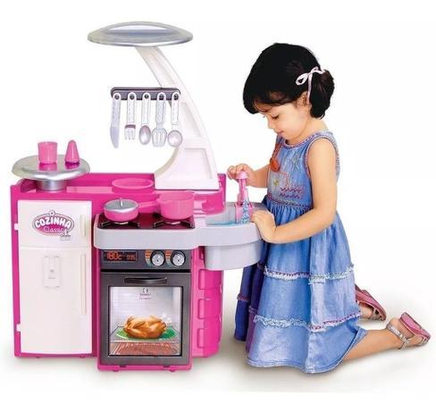 Imagem de Mini Cozinha Infantil Armário Pia Fogão Geladeira Completa