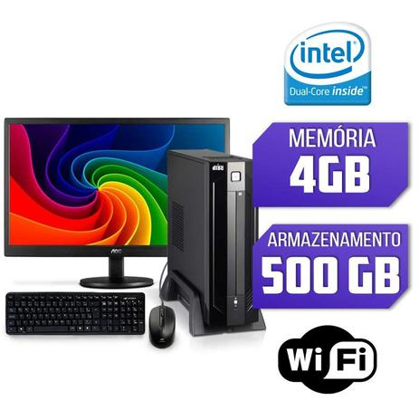 Mini CPU Intel Dual Core, 4GB, HD 500GB,Wifi com Monitor, Teclado e Mouse -  Alfatec