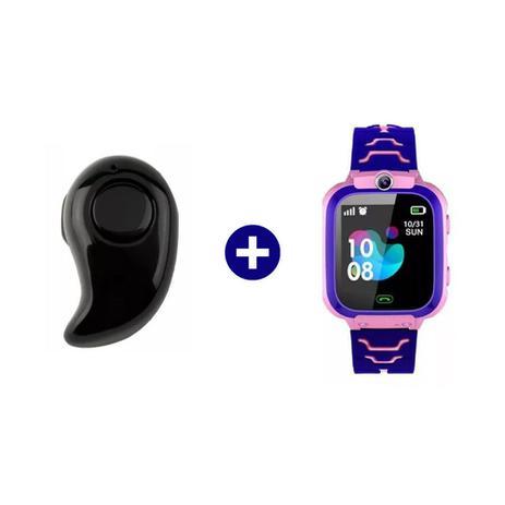 Imagem de Mini Fone De Ouvido Sem Fio Bluetooth V4.0 + Relógio Pulseira Smartwatch Infantil GPS, SOS, Escuta Premium