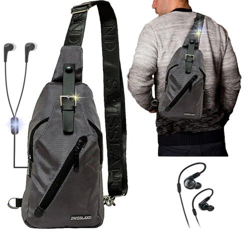 52024a3a5 Mini Mochila masculina Esportiva Resistente Transversal Entrada Fone de  Ouvido + Fone De Ouvido - Swissland