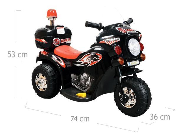 Imagem de Mini Moto Elétrica Infantil Triciclo Elétrico BZ Cycle Preto com Músicas e Luzes BARZI MOTORS