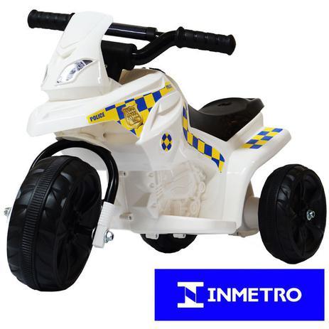 9e7ec7be9db Mini Moto Elétrica Triciclo Criança Infantil Bateria 6V Branca Polícia  Bivolt - Importway