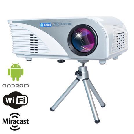 Imagem de Mini Projetor Protátil Betec - 1600 Lumens - Tripé - Android 4.4.4 PT, Wifi, Bluetooth, Internet