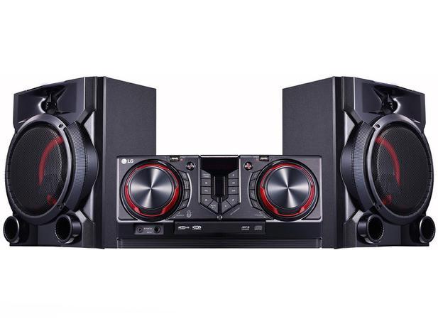 Mini System LG Bluetooth Dual USB MP3 CD Player - Rádio AM/FM 810W Karaokê X Boom CJ65